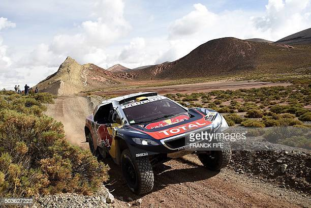 TOPSHOT Peugeot's driver Stephane Peterhansel and codriver Jean Paul Cottret both from France compete during the Stage 4 of the Dakar 2016 around...
