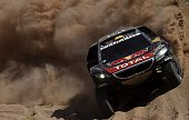TOPSHOT Peugeot's driver Stephane Peterhansel and codriver Jean Paul Cottret both from France compete during the Stage 9 of the 2016 Dakar Rally...
