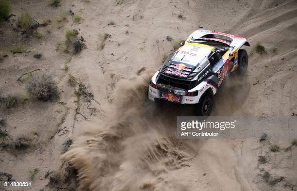 TOPSHOT Peugeot's driver Stephane Peterhansel and his codriver Jean Paul Cottret of France ride during the Stage 8 of the Silk Way 2017 between...