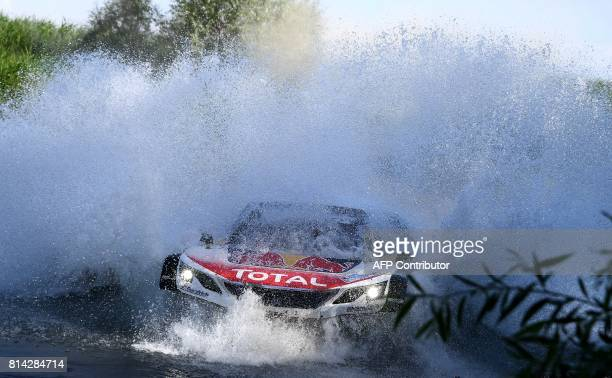 TOPSHOT Peugeot's French driver Sebastien Loeb and codriver Daniel Elena compete during Stage 7 of the Silk Way 2017 between Urzhar and Karamay China...