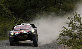 TOPSHOT Peugeot's French driver Sebastien Loeb and codriver Daniel Elena from Monaco compete in the Stage 3 of the 2016 Dakar Rally between Termas de...
