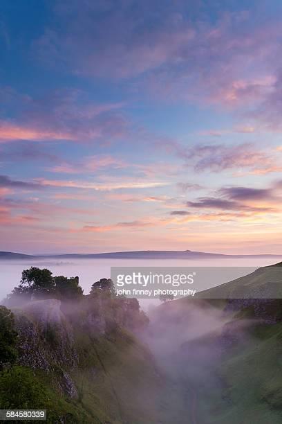 Peveril Castle misty dawn, Peak District, UK