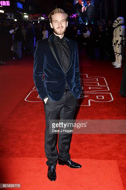 PewDiePie attends the European Premiere of 'Star Wars The Force Awakens' at Leicester Square on December 16 2015 in London England
