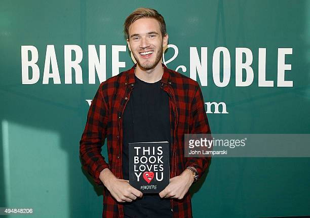 PewDiePie signs copies of his new book 'This Book Loves You' at Barnes Noble Union Square on October 29 2015 in New York City