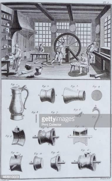 Pewtermaking c1750s Plate taken from volume VIII of Encyclopedie ou Dictionnaire Raisonne de Science des Arts et des Metiers edited by Denis Diderot...