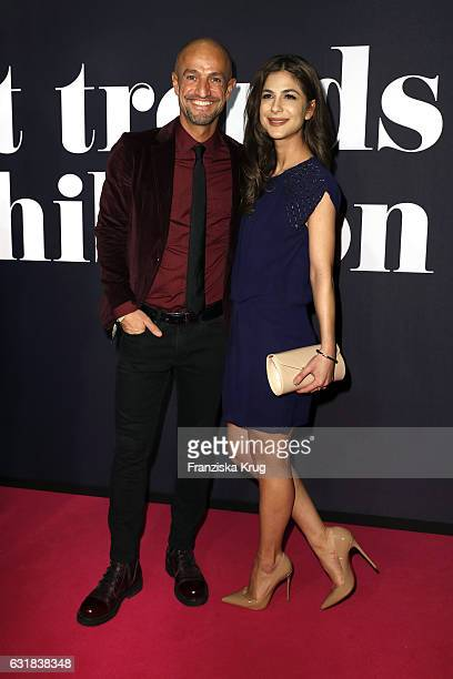 Peyman Amin and guest attend the Maybelline Hot Trendsxhibition 2017 show during the MercedesBenz Fashion Week Berlin A/W 2017 at Motorenwerk on...