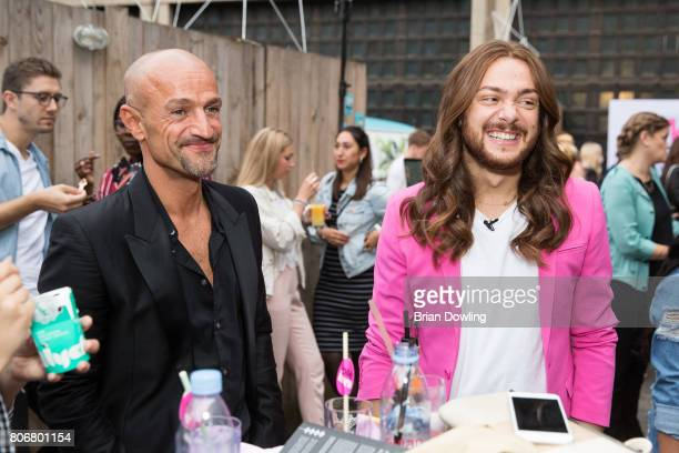 Peyman Amin and Riccardo Simonetti at the Bloty Award 2017 Deutscher Bloggerpreis by HashMag at Spreewerkstaetten on July 3 2017 in Berlin Germany