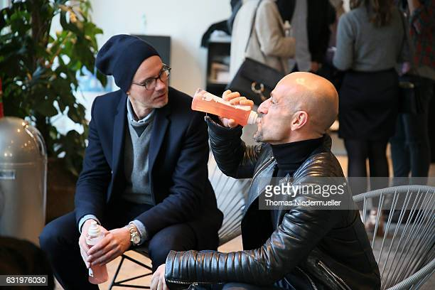 Peyman Amin is seen drinking Quickcap during the MercedesBenz Fashion Week Berlin A/W 2017 at Kaufhaus Jandorf on January 17 2017 in Berlin Germany