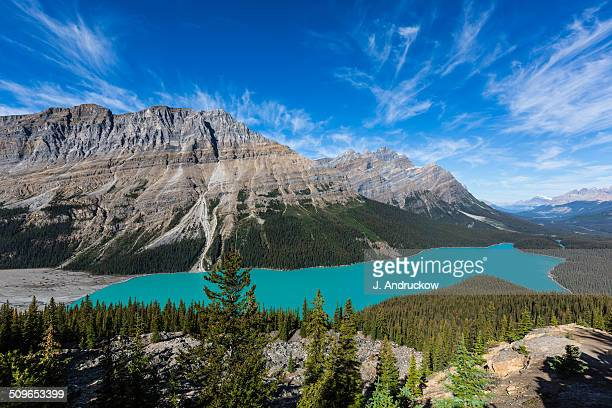 Peyto Lake with blue sky and clouds