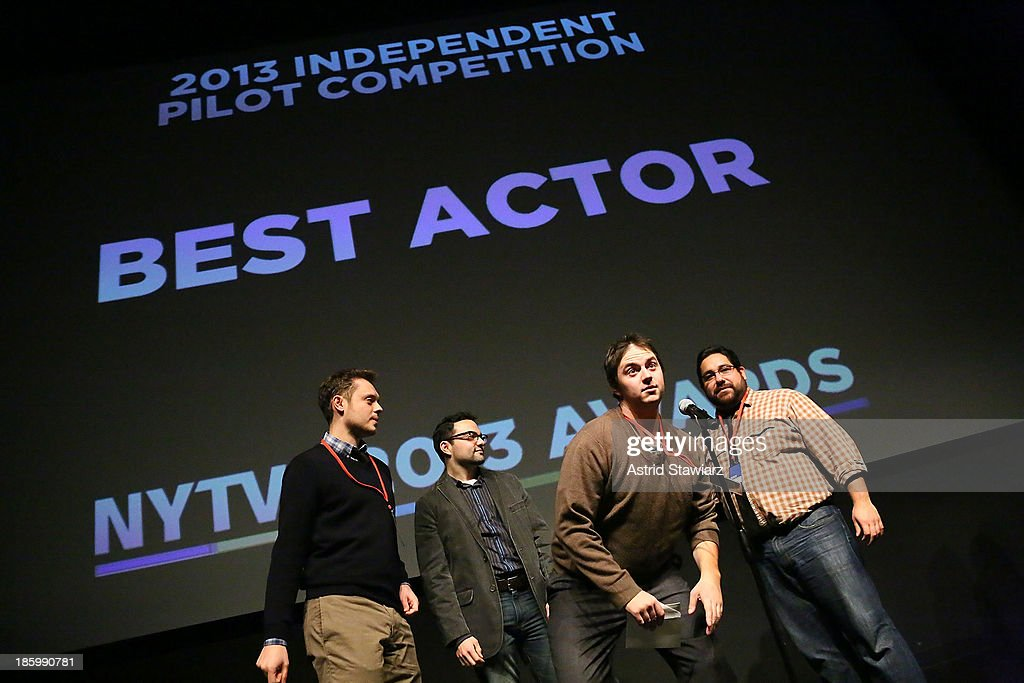 Peyton Brown, Brian Hurwitz, Josh Segovias and Tyler Smith accept Best Actor Award during the 9th Annual New York Television festival at SVA Theater on October 26, 2013 in New York City.