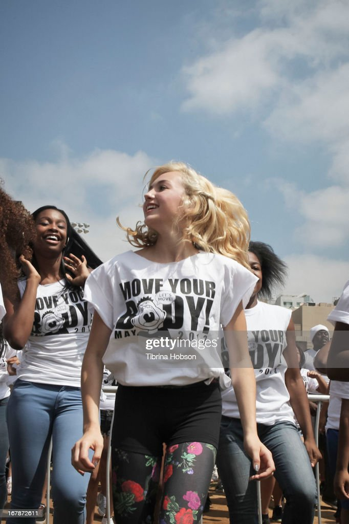 Peyton List and Coco Jones attend the WAT-AAH! Foundation's 3rd annual move your body 2013 event on May 1, 2013 in Los Angeles, California.
