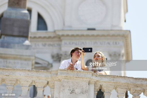 Peyton List and her brother Spencer List are seen in Piazza Di Spagna whilst on vacation on July 19 2017 in Rome Italy