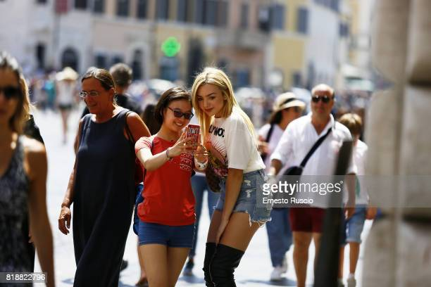 Peyton List is seen in Piazza Di Spagna whilst on vacation on July 19 2017 in Rome Italy