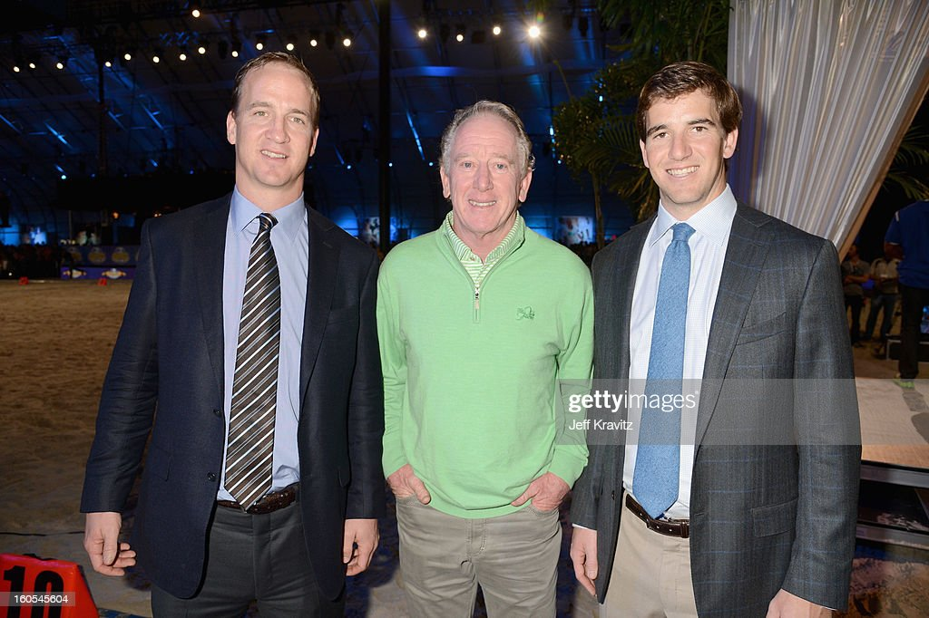 <a gi-track='captionPersonalityLinkClicked' href=/galleries/search?phrase=Peyton+Manning&family=editorial&specificpeople=184524 ng-click='$event.stopPropagation()'>Peyton Manning</a>, <a gi-track='captionPersonalityLinkClicked' href=/galleries/search?phrase=Archie+Manning&family=editorial&specificpeople=453294 ng-click='$event.stopPropagation()'>Archie Manning</a> and <a gi-track='captionPersonalityLinkClicked' href=/galleries/search?phrase=Eli+Manning&family=editorial&specificpeople=202013 ng-click='$event.stopPropagation()'>Eli Manning</a> attend DIRECTV'S 7th Annual Celebrity Beach Bowl at DTV SuperFan Stadium at Mardi Gras World on February 2, 2013 in New Orleans, Louisiana.