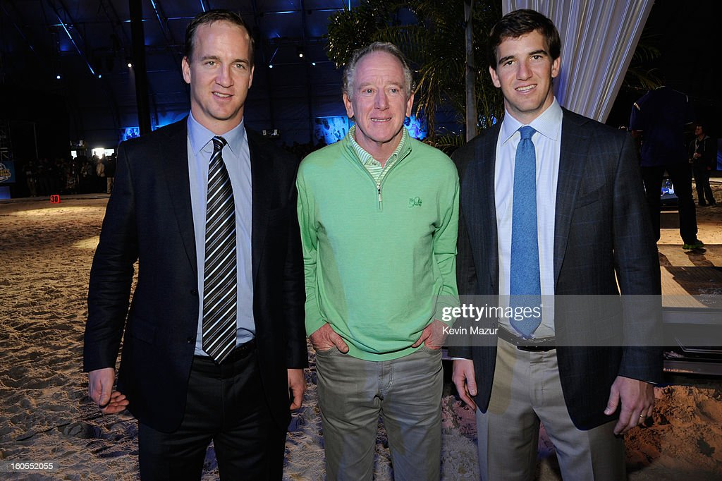 Peyton Manning, Archie Manning, and Eli Manning attend DIRECTV'S 7th annual celebrity Beach Bowl at DTV SuperFan Stadium at Mardi Gras World on February 2, 2013 in New Orleans, Louisiana.