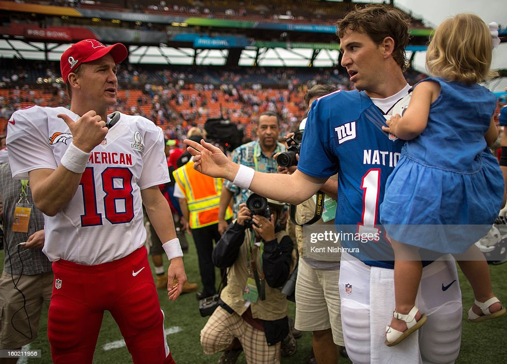 Peyton Manning #18 of the AFC's Denver Broncos talks with brother, Eli Manning #10 of the NFC's New York Giants after the conclusion of the 2013 AFC-NFC Pro Bowl on January 27 , 2013 at Aloha Stadium in Honolulu, Hawaii.
