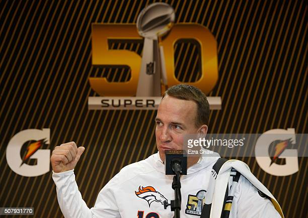 Peyton Manning of the Denver Broncos addresses the media at Super Bowl Opening Night Fueled by Gatorade at SAP Center on February 1 2016 in San Jose...
