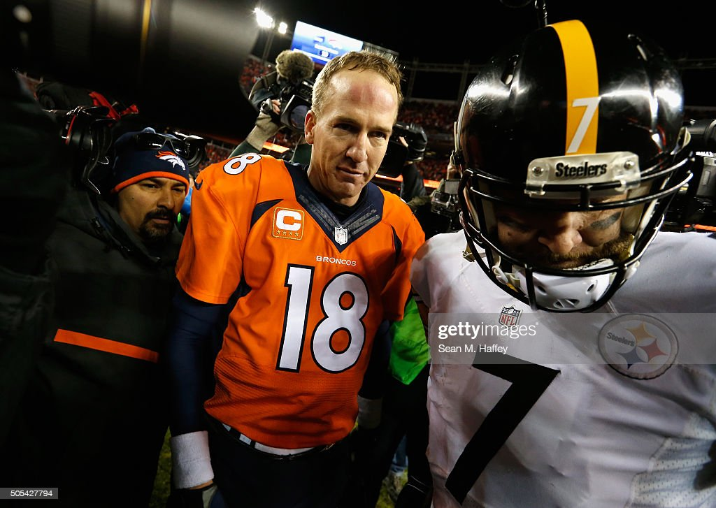 Peyton Manning #18 of the Denver Broncos and Ben Roethlisberger #7 of the Pittsburgh Steelers meet on the field after the AFC Divisional Playoff Game at Sports Authority Field at Mile High on January 17, 2016 in Denver, Colorado. The Denver Broncos beat the Pittsburgh Steelers 23-16.