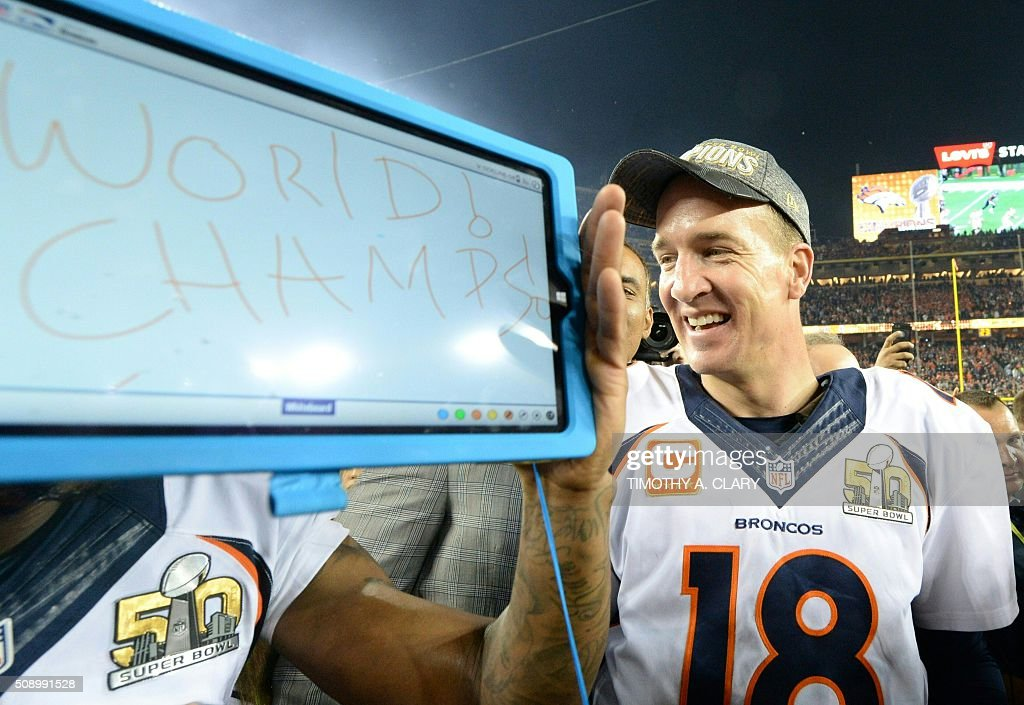 Peyton Manning of the Denver Broncos celebrates after Super Bowl 50 at Levi's Stadium in Santa Clara, California February 7, 2016. The Broncos beat the Carolina Panthers 24-10. / AFP / TIMOTHY A. CLARY