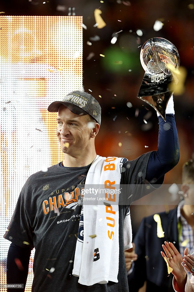 Peyton Manning #18 of the Denver Broncos celebrates with the Vince Lombardi Trophy after winning Super Bowl 50 at Levi's Stadium on February 7, 2016 in Santa Clara, California. The Denver Broncos defeated the Carolina Panthers 24-10.
