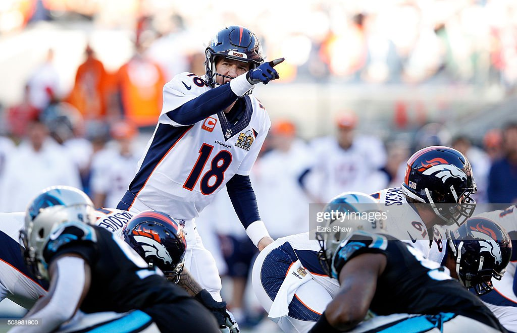 <a gi-track='captionPersonalityLinkClicked' href=/galleries/search?phrase=Peyton+Manning&family=editorial&specificpeople=184524 ng-click='$event.stopPropagation()'>Peyton Manning</a> #18 of the Denver Broncos gestures in the first quarter against the Carolina Panthers during Super Bowl 50 at Levi's Stadium on February 7, 2016 in Santa Clara, California.