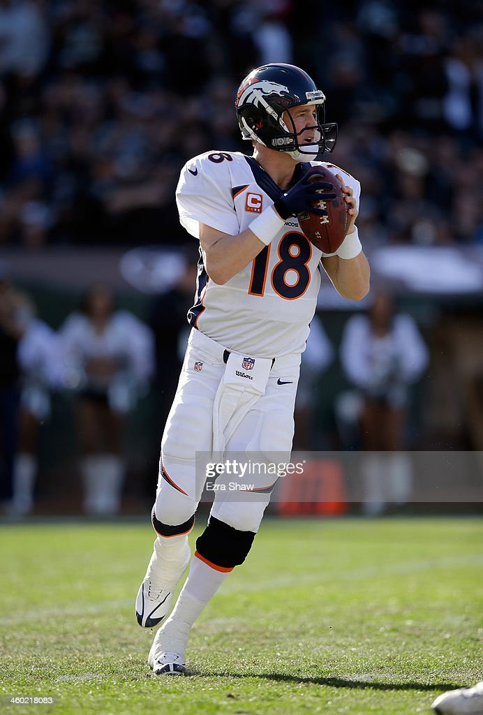 <a gi-track='captionPersonalityLinkClicked' href=/galleries/search?phrase=Peyton+Manning&family=editorial&specificpeople=184524 ng-click='$event.stopPropagation()'>Peyton Manning</a> #18 of the Denver Broncos in action against the Oakland Raiders at O.co Coliseum on December 29, 2013 in Oakland, California.