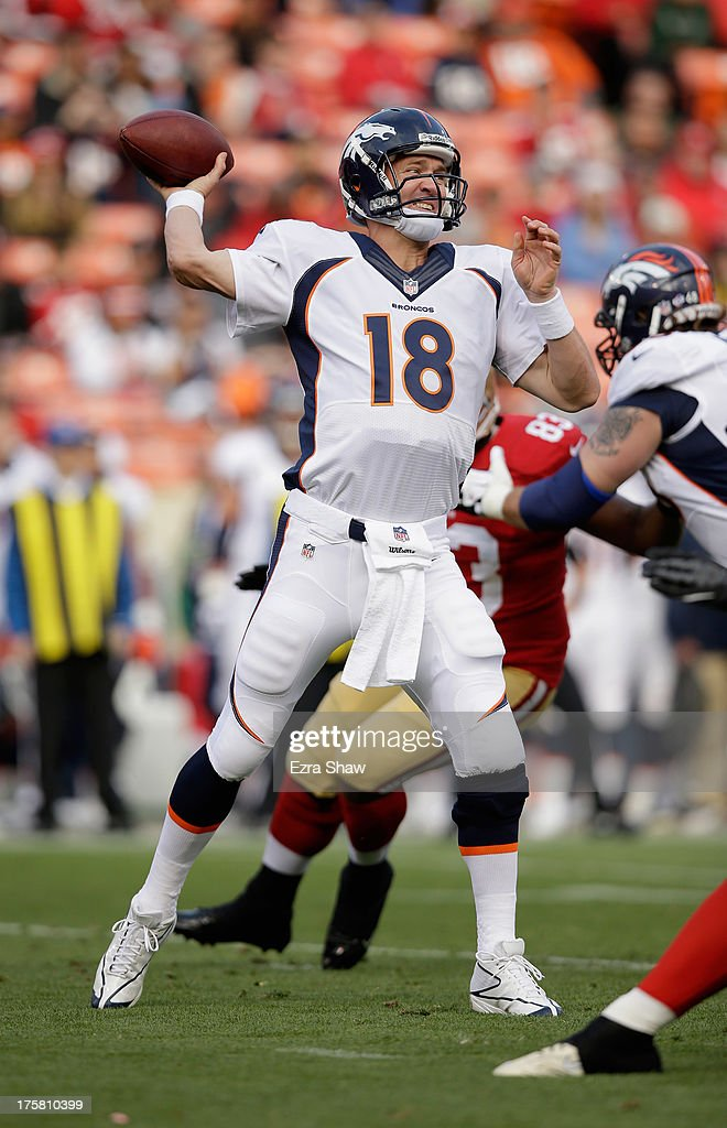 <a gi-track='captionPersonalityLinkClicked' href=/galleries/search?phrase=Peyton+Manning&family=editorial&specificpeople=184524 ng-click='$event.stopPropagation()'>Peyton Manning</a> #18 of the Denver Broncos in action during their preseason NFL game against the San Francisco 49ers at Candlestick Park on August 8, 2013 in San Francisco, California.