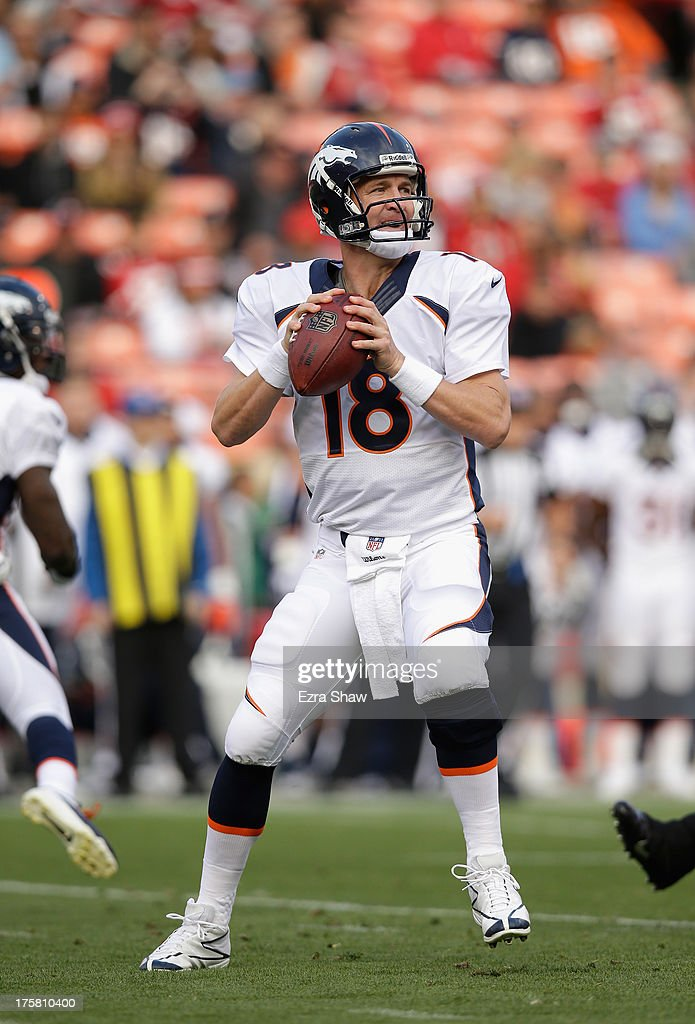 Peyton Manning #18 of the Denver Broncos in action during their preseason NFL game against the San Francisco 49ers at Candlestick Park on August 8, 2013 in San Francisco, California.