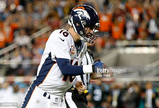 Peyton Manning of the Denver Broncos reacts after a touchdown against the Carolina Panthers during Super Bowl 50 at Levi's Stadium on February 7 2016...
