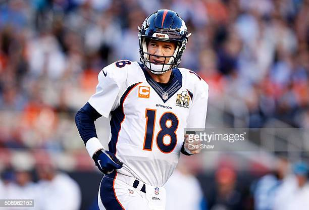 Peyton Manning of the Denver Broncos runs on the field in the first quarter against the Carolina Panthers during Super Bowl 50 at Levi's Stadium on...
