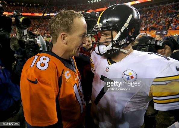 Peyton Manning of the Denver Broncos shakes hands with Ben Roethlisberger of the Pittsburgh Steelers after the AFC Divisional Playoff Game at Sports...