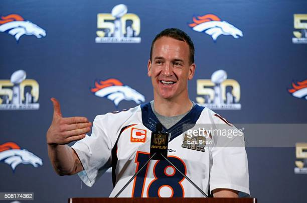 Peyton Manning of the Denver Broncos speaks to the media during the Broncos media availability for Super Bowl 50 at the Santa Clara Marriott on...