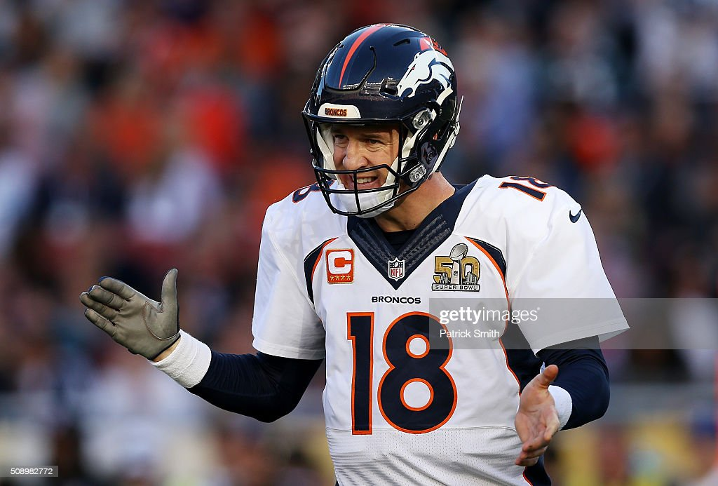 <a gi-track='captionPersonalityLinkClicked' href=/galleries/search?phrase=Peyton+Manning&family=editorial&specificpeople=184524 ng-click='$event.stopPropagation()'>Peyton Manning</a> #18 of the Denver Broncos stands on the field in the first quarter against the Carolina Panthers during Super Bowl 50 at Levi's Stadium on February 7, 2016 in Santa Clara, California.