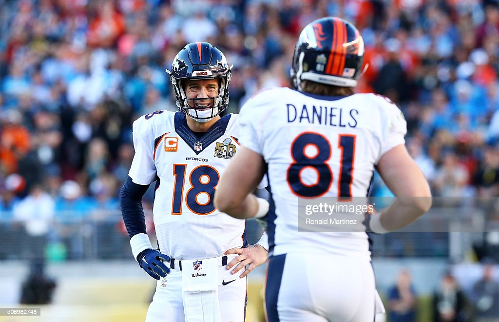 <a gi-track='captionPersonalityLinkClicked' href=/galleries/search?phrase=Peyton+Manning&family=editorial&specificpeople=184524 ng-click='$event.stopPropagation()'>Peyton Manning</a> #18 of the Denver Broncos stands on the field with <a gi-track='captionPersonalityLinkClicked' href=/galleries/search?phrase=Owen+Daniels&family=editorial&specificpeople=614766 ng-click='$event.stopPropagation()'>Owen Daniels</a> #81 of the Denver Broncos in the first quarter during Super Bowl 50 at Levi's Stadium on February 7, 2016 in Santa Clara, California.