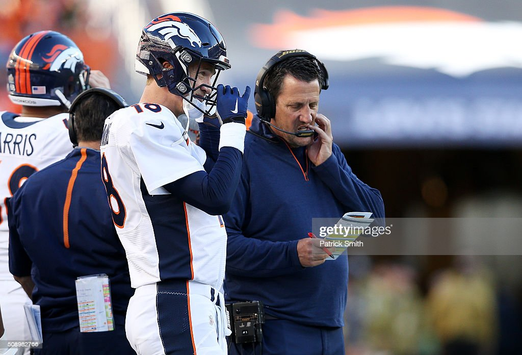 <a gi-track='captionPersonalityLinkClicked' href=/galleries/search?phrase=Peyton+Manning&family=editorial&specificpeople=184524 ng-click='$event.stopPropagation()'>Peyton Manning</a> #18 of the Denver Broncos stands on the sideline in first quarter against the Carolina Panthers during Super Bowl 50 at Levi's Stadium on February 7, 2016 in Santa Clara, California.