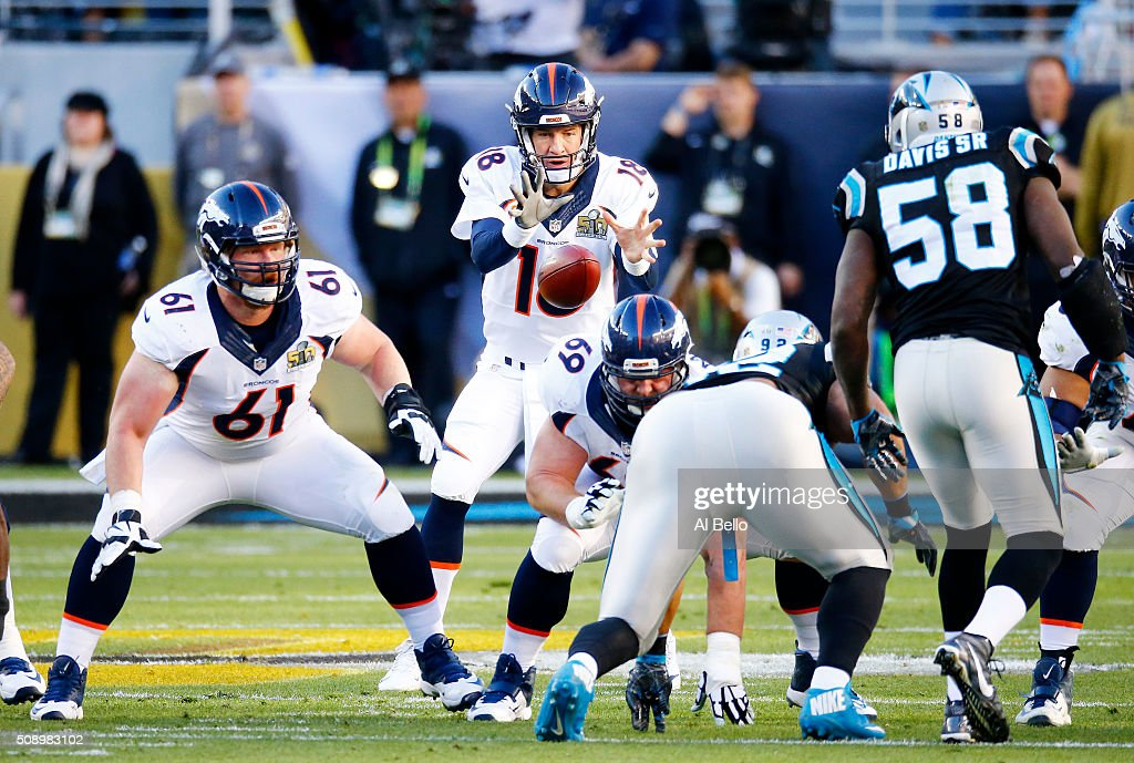 <a gi-track='captionPersonalityLinkClicked' href=/galleries/search?phrase=Peyton+Manning&family=editorial&specificpeople=184524 ng-click='$event.stopPropagation()'>Peyton Manning</a> #18 of the Denver Broncos throws a pass against the Carolina Panthers in the first quarter during Super Bowl 50 at Levi's Stadium on February 7, 2016 in Santa Clara, California.