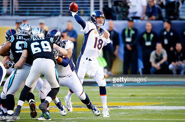 Peyton Manning of the Denver Broncos throws a pass against the Carolina Panthers during Super Bowl 50 at Levi's Stadium on February 7 2016 in Santa...