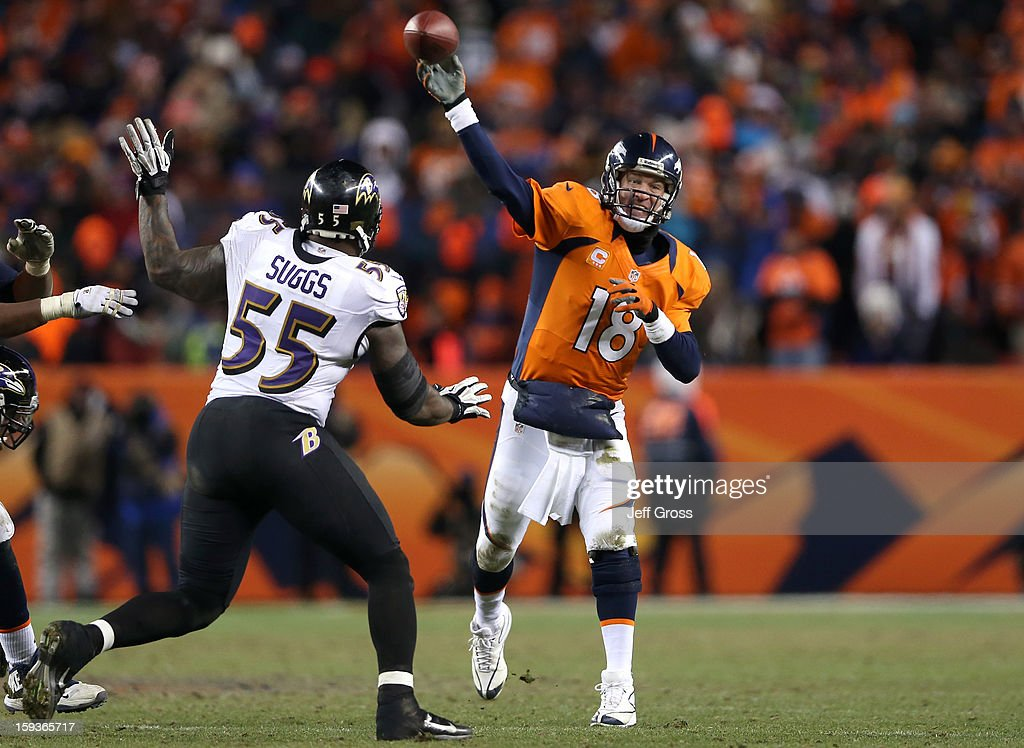 Peyton Manning #18 of the Denver Broncos throws a pass in in the fourth quarter against Terrell Suggs #55 of the Baltimore Ravens during the AFC Divisional Playoff Game at Sports Authority Field at Mile High on January 12, 2013 in Denver, Colorado.