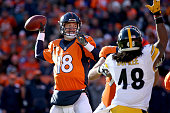Peyton Manning of the Denver Broncos throws a pass in the first quarter against the Pittsburgh Steelers during the AFC Divisional Playoff Game at...