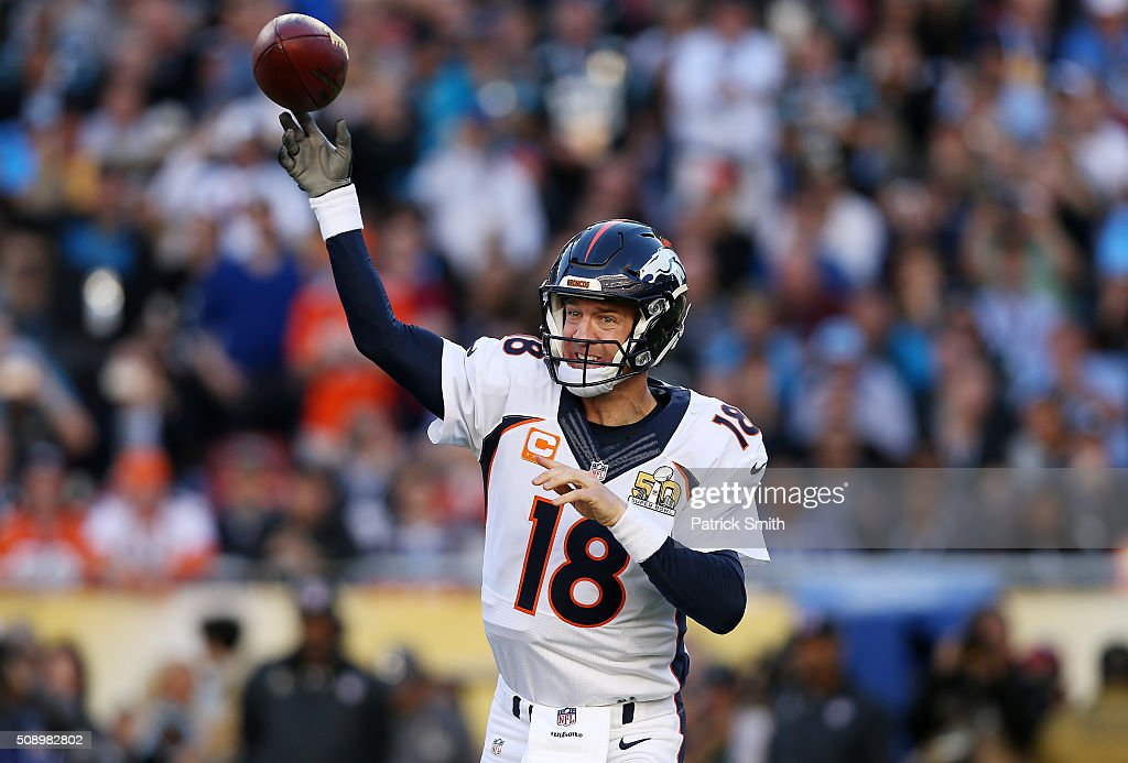 <a gi-track='captionPersonalityLinkClicked' href=/galleries/search?phrase=Peyton+Manning&family=editorial&specificpeople=184524 ng-click='$event.stopPropagation()'>Peyton Manning</a> #18 of the Denver Broncos throws a pass in the first quarter against the Carolina Panthers during Super Bowl 50 at Levi's Stadium on February 7, 2016 in Santa Clara, California.