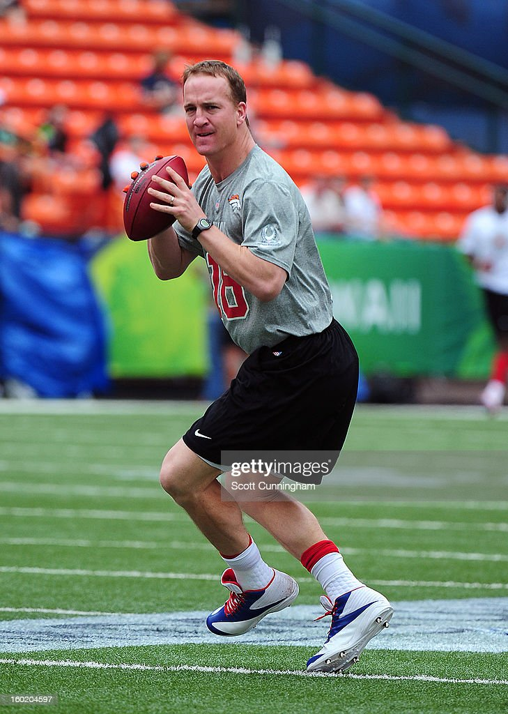 Peyton Manning #18 of the Denver Broncos warms up before the 2013 Pro Bowl against the National Football Conference team at Aloha Stadium on January 27, 2013 in Honolulu, Hawaii