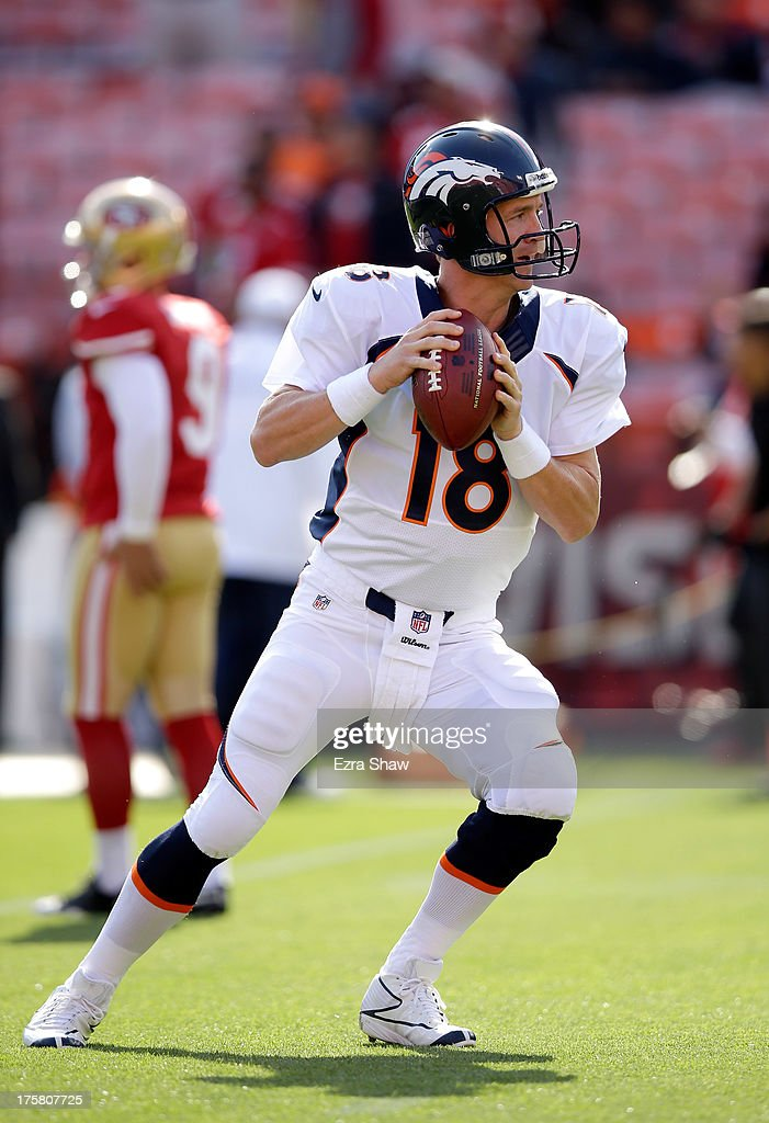 <a gi-track='captionPersonalityLinkClicked' href=/galleries/search?phrase=Peyton+Manning&family=editorial&specificpeople=184524 ng-click='$event.stopPropagation()'>Peyton Manning</a> #18 of the Denver Broncos warms up before their preseason NFL game against the San Francisco 49ers at Candlestick Park on August 8, 2013 in San Francisco, California.