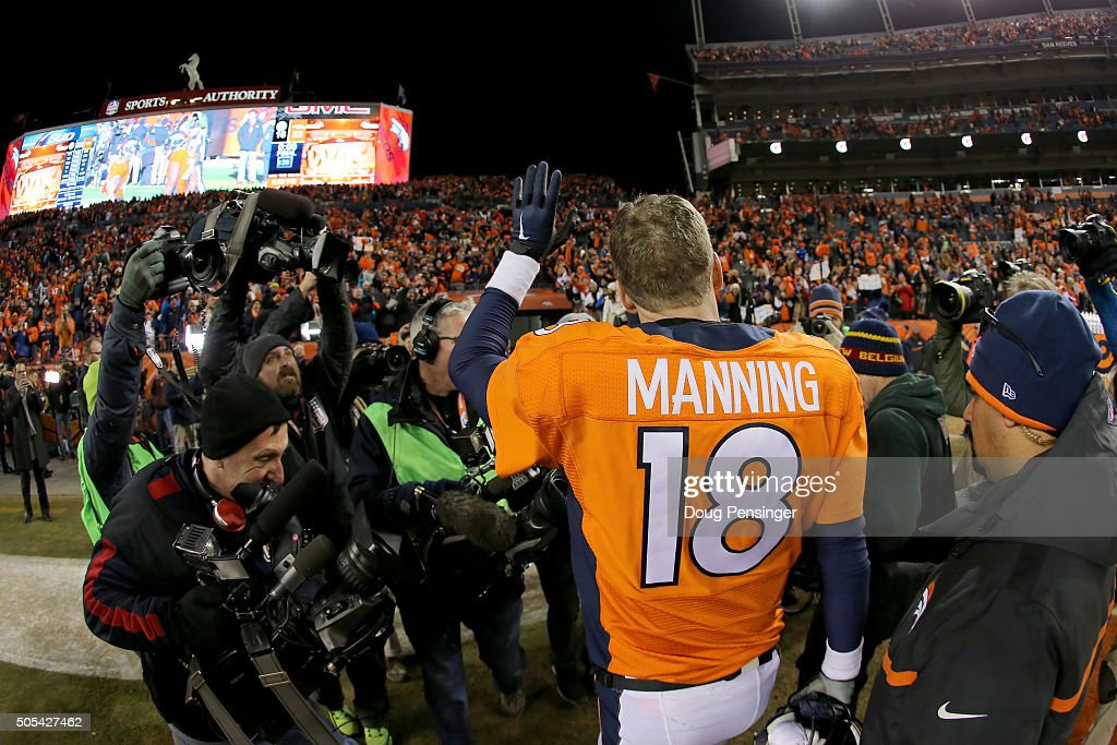 Peyton Manning #18 of the Denver Broncos waves to fans as he walks off the field after the AFC Divisional Playoff Game against the Pittsburgh Steelers at Sports Authority Field at Mile High on January 17, 2016 in Denver, Colorado. The Denver Broncos beat the Pittsburgh Steelers 23-16.