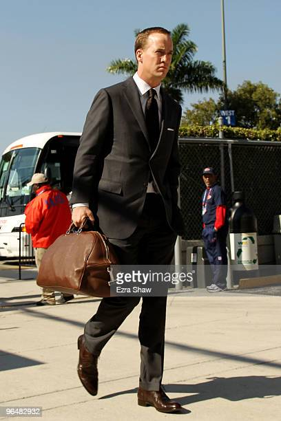 Peyton Manning of the Indianapolis Colts arrives to the stadium prior to Super Bowl XLIV against the New Orleans Saints on February 7 2010 at Sun...