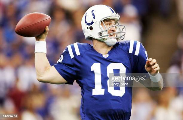 Peyton Manning of the Indianapolis Colts drops back to pass against the Tennessee Titans at the RCA Dome on December 5 2004 in Indianapolis Indiana