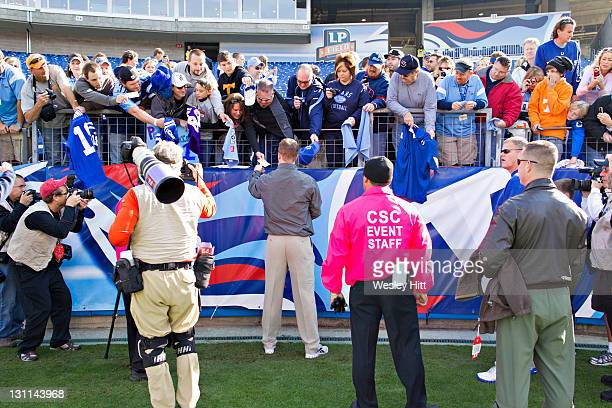 Peyton Manning of the Indianapolis Colts signs autographs before a game against the Tennessee Titans at the LP Field on October 30 2011 in Nashville...