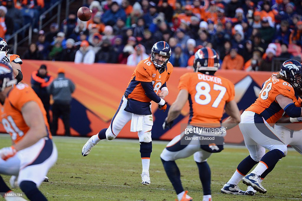Peyton Manning #18 throws a pass to Eric Decker #87 of the Denver Broncos during the game against the Kansas City Chiefs at Sports Authority Field at Mile High on December 30, 2012 in Denver, Colorado.