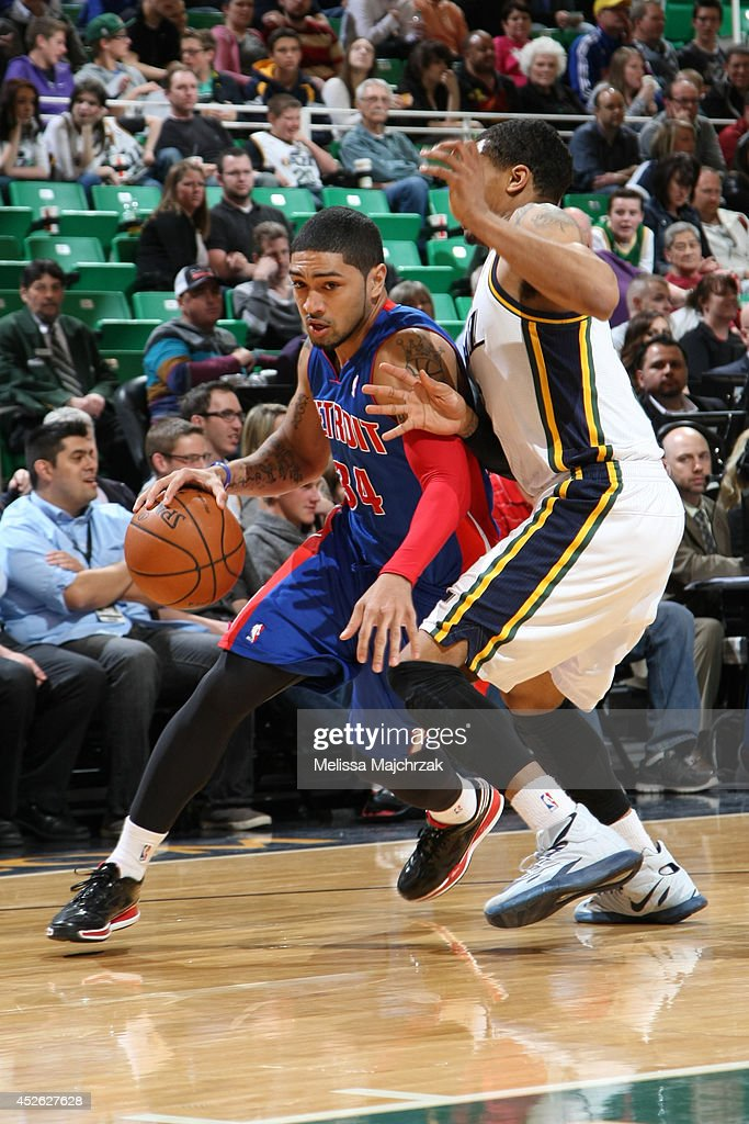 <a gi-track='captionPersonalityLinkClicked' href=/galleries/search?phrase=Peyton+Siva&family=editorial&specificpeople=5792001 ng-click='$event.stopPropagation()'>Peyton Siva</a> #34 of the Detroit Pistons handles the ball against the Utah Jazz at EnergySolutions Arena on March 24, 2014 in Salt Lake City, Utah.
