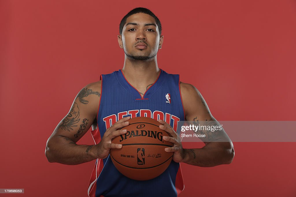 Peyton Siva #34 of the Detroit Pistons poses for a portrait during the 2013 NBA rookie photo shoot on August 6, 2013 at the Madison Square Garden Training Facility in Tarrytown, New York.