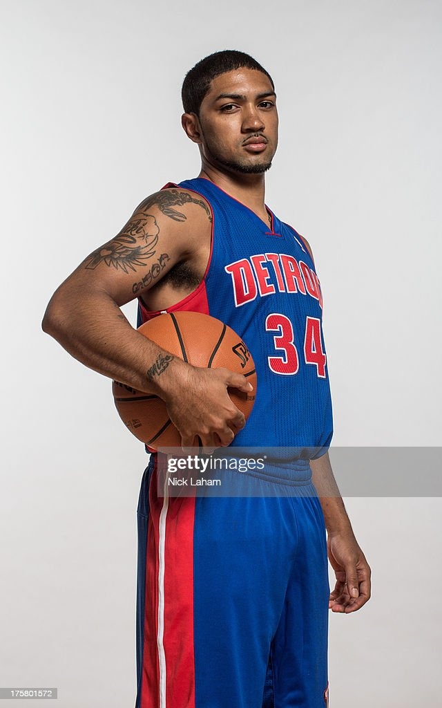 Peyton Siva #34 of the Detroit Pistons poses for a portrait during the 2013 NBA rookie photo shoot at the MSG Training Center on August 6, 2013 in Greenburgh, New York.